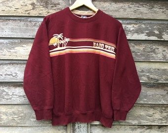 Vintage 90s Hawaii Hang Ten sweatshirt surfing maroon color L size