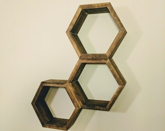 Hexagon Shelves, Honeycomb Shelves, Geometric, Bookshelf, Decor, Home Decor, Rustic, Nursery, Nursery Wall Art, Nursery Decor
