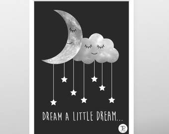 Printable poster, Download poster, Moon poster, Cloud poster, Kids poster, Nursery poster, Baby poster, Boy poster, Girl poster, Star poster