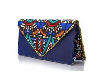 NUNA COUTURE Limited Edition Leather and Ankara Clutch Purse With Trim Detailing