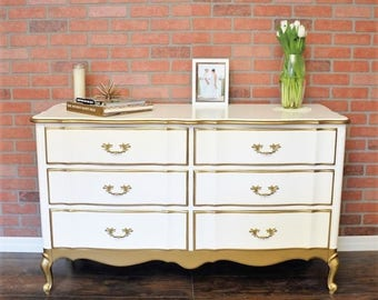 Antique Vintage White And Gold Dipped French Provincial Dresser *SOLD*