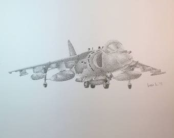 Stippled Military Jet Drawing Print  // pen // ink // black and white // Jet // old // vintage // dots // pointillism // military