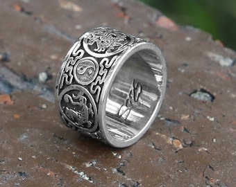 Yin Yang Dragon Sterling Silver Ring, Meditation Ring, Tibetan Buddhist Jewelry, Chinese Taoist Ring, Tai Chi Ring, Mens Ring Gift, Zen Ring