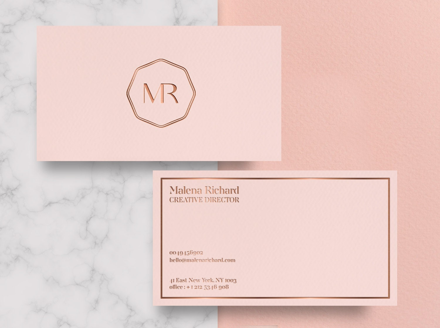 Rose gold business cards unlimitedgamers business card design premade business card template colourmoves