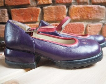 Women's 90s John Fluevog Purple And Pink Mary Jane Shoes With Chunky Heel Size US 5