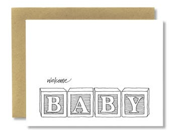 Welcome Baby Blocks - A2 Card (Single or Set of 5)