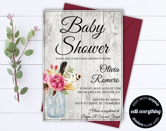 Rustic Baby Shower Invitation Template - Girl Baby Shower Invite - Baby Boy Shower Invitation - Country Baby Shower Template - Rustic Shower