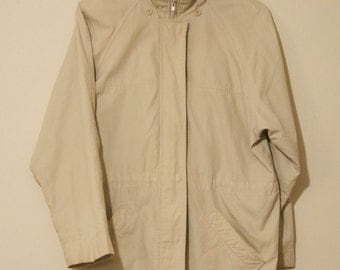 London Fog Khaki Full Zip Trench Jacket Coat Vintage Mens Medium Yeezy