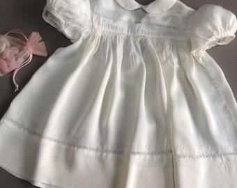 vintage baby girl silk dress. Vintage christening dress.Antique baby girl dress. Handmade vintage baby girl dress