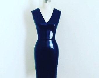 Black Vinyl Stretch V-neck Pencil Dress