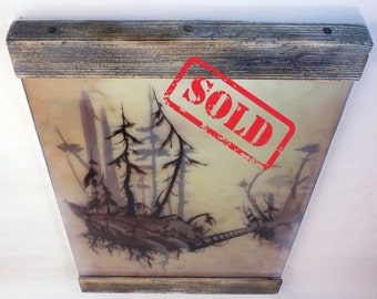 SOLD /Orinigal painting / Old forest / Illiustration / Modern / Wall / Home decor / Epoxy / Wood frame / Acrylic / Brown & Yeallow / Vintage