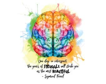 Sigmund Freud Quote Digital Art - Instant Download, Printable, Mental Health Awareness, Watercolor, Brain, Cerebral, Psychology
