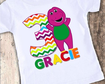 My Chibi purple dinosaur inspired Kids custom designed birthday t shirt tshirt personalized