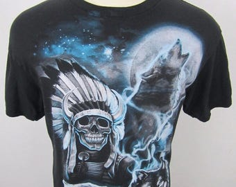 Vintage Indian Native American Wolf Moon Howl Heavy Metal Black T Shirt XL L