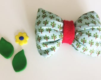 Puffy Hair Bow clip - Fully covered clip - Trees!