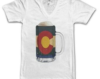 Ladies Colorado State Flag Beer Mug Tee, Home Tee, State Pride, State Flag, Beer Tee, Beer T-Shirt, Beer Thinkers, Beer Lovers Tee, Fun Beer