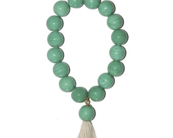 Aqua porcelian tassel beaded  bracelet on elastic