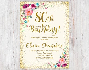 Floral Pink And Gold Women Birthday Invitation 80th Birthday