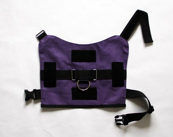 Service dog vest harness; traditional buckle closure; heavy duty; large dog sizes available; multiple colors available