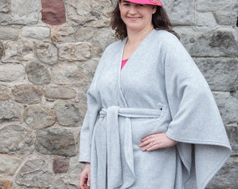 Plus size clothing/Plus size/Trendy plus size clothing/Grey jacket/ Cape coat/Cape jacket/Fleece coat/Capes/Grey ponchos/Polar fleece fabric