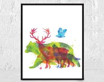 Nursery animals prints, Printable art, Woodland animals decor, Baby animals, Nursery art, Nursery decor, Woodland animal prints, Minimalist