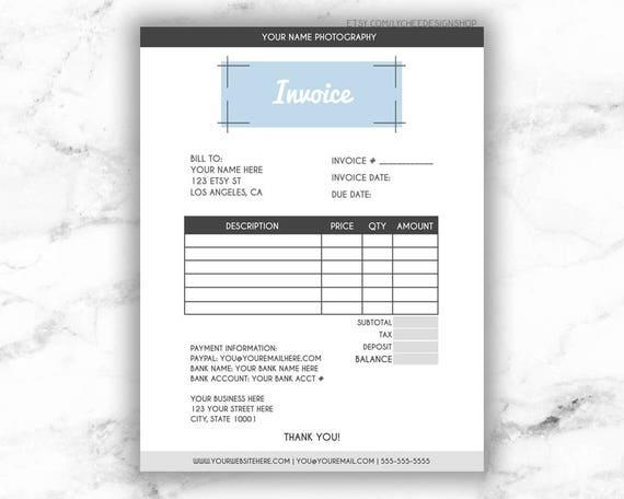 Minimalistische moderne editierbare Rechnung Vorlage 8.5 x 11