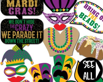 Mardi Gras Photo Booth Props- 29 Printable Party Props, Parade, Beads, Purple, Green, Yellow, King, Queen, Masks, Joker-INSTANT PDF DOWNLOAD