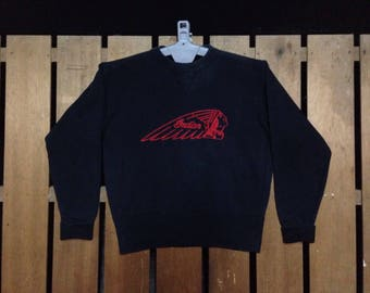 Vintage Indian Motorcycles Co Embroidered Big Logo Stone Washed Sweatshirt