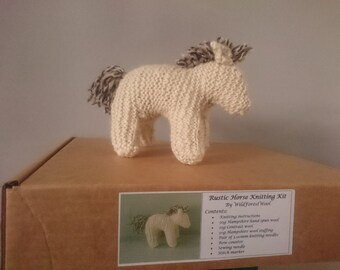 British Hand spun wool New forest pony knitting kit - waldorf horse knitting kit - local farm - no bleach wool - un dyed - eco friendly