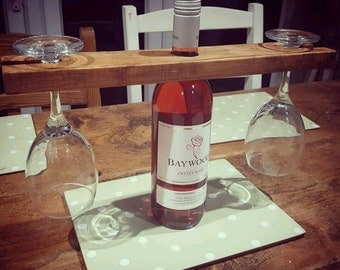 Rustic upcycled shabby chic pallet wood wine bottle and glass holder