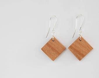 Diamond Wood Earrings