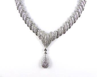 Vintage silver necklace, silver pendant necklace, signed necklace, 1970-80's necklace, costume jewellery, tear drop necklace, marked C805.