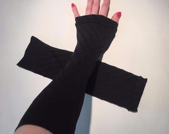 Trixy Xchange - Elbow Length Black Gloves Black Arm Warmers Black Sleeves Black Armwarmers Black Driving Sun sleeves Gothic Style Steampunk