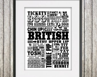 Girlfriend gift, grandma gift, gifts for men, gifts for women, Traditional British Sayings Giclee/Canvas Print