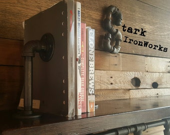 Bookends, Iron Pipe Book Ends, Industrial Book Ends, Steampunk Book Ends, Rustic Book Ends
