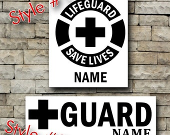 Life Guard with Name vinyl decal/Personalized decal/life guard/beach/red cross/personalize/car decal/tumbler decal