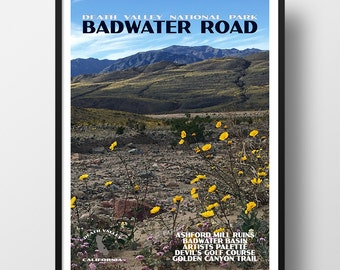 Death Valley Poster, death valley print, national park print, national park poster, death valley national park, travel poster, badwater road