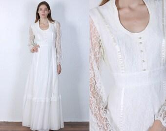 70s Boho Maxi Dress // Vintage Romantic Sheer Prairie Hippie Floral Dress White - Medium to Large