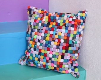 Vintage Patchwork Pillow // Handmade Quilted Throw Accent Pillow