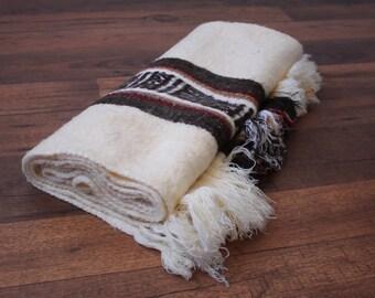 Vintage Mexican Blanket // Soft Striped Southwestern Blanket Fringe Tribal Aztec Throw Rug Saltillo