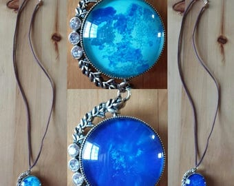 Necklace double blue