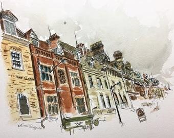 Cambridge Buildings, Original Ink and Watercolor Painting