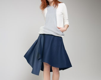 Skirt, Flared Skirt, Asymmetric Skirt, Wraparound, Knee-length skirt