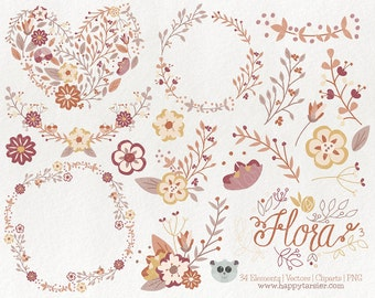 Flowers Clipart 80% OFF! - Flora 03 Vector Graphics, Flower Clipart, Floral Clipart, PNG, Clip Art, Earth, Tones, Brown, Tan