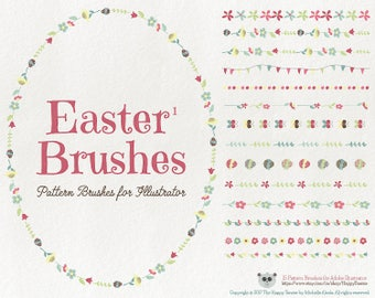 Pattern Brushes for Illustrator - Easter 1 Flowers Floral