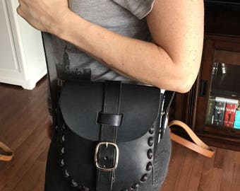 Black leather purse / coing bag