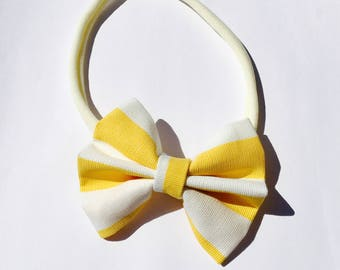 Bow headband for girls. Yellow headband. Yellow and white bow. Hair accessory