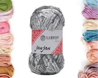 100 gr.Grey, Sequin yarn, Sparkle Yarn, sequin theread, accessories, fantasy Yarn, payet yarn, Lace yarn, lame yarn, art yarn, silvery yarn