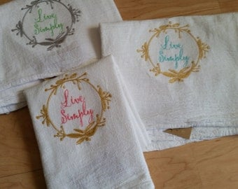 Trendy Farmhouse Kitchen Embroidered Flour Sack towel - Live Simply embroidered towel - Hostess gift - gifts for couples - gifts for home