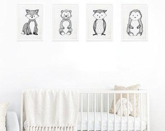 Black&White Animal prints for your nursery, Modern Nursery Animals, Animal Wall Art, Kids Room Decor, Contemporary Art,Baby Room gift